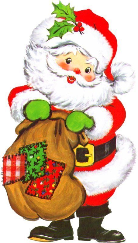 Christmas Santa Clip Art Cartões De Natal Vintage Desenho