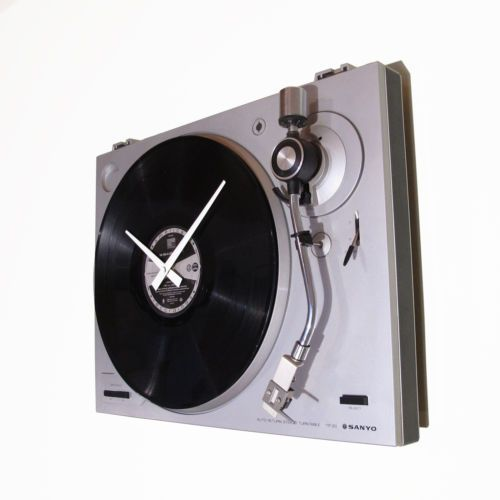 Wanduhr-Plattenspieler-Funkuhr-Moderne-Wohnzimmer-Uhr-Unikat - moderne wanduhren wohnzimmer