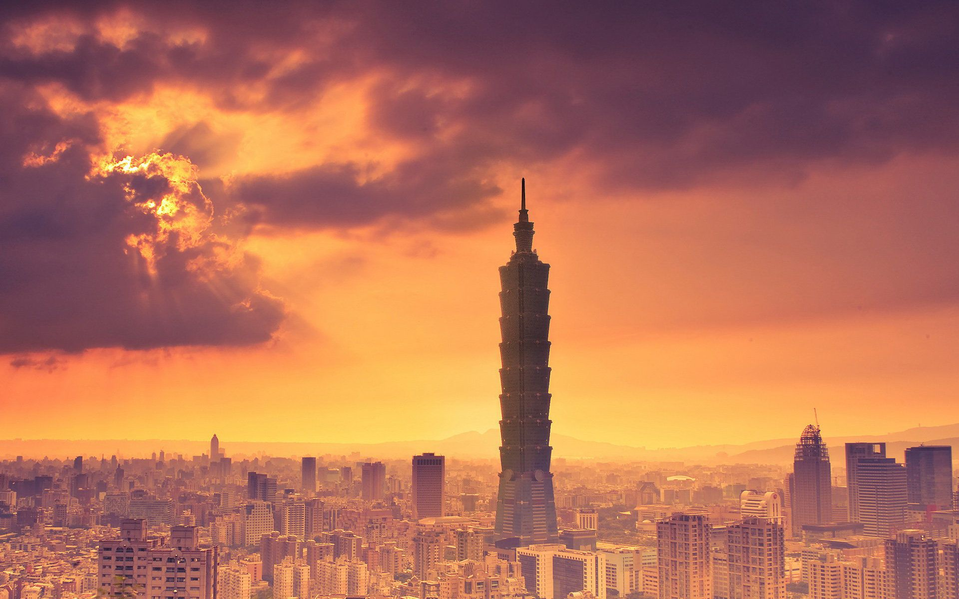Taipei 101 Clouds Sky Hdwallpaperfx Pinterest Wallpaper