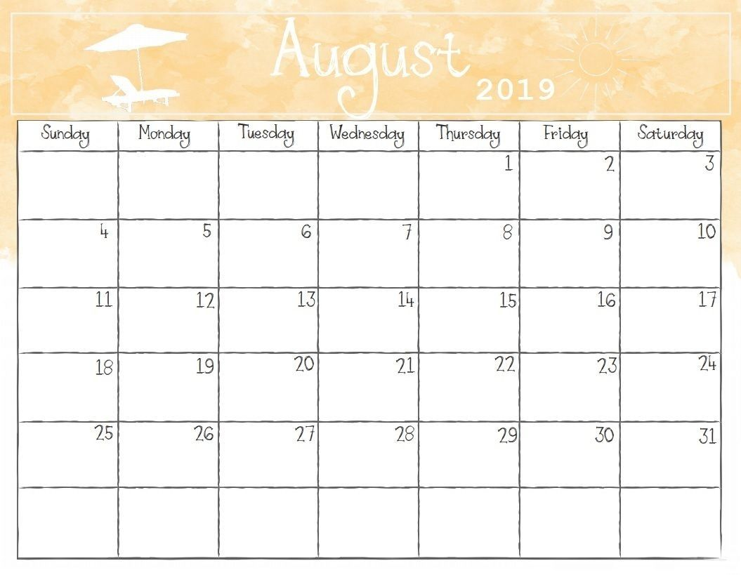 Free Monthly August 2019 Calendar Printable Template Word Pdf