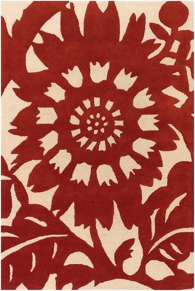 Zinnia Pattern New Zealand Wool Area Rug in Persimmon and Cream design by Thomas Paul