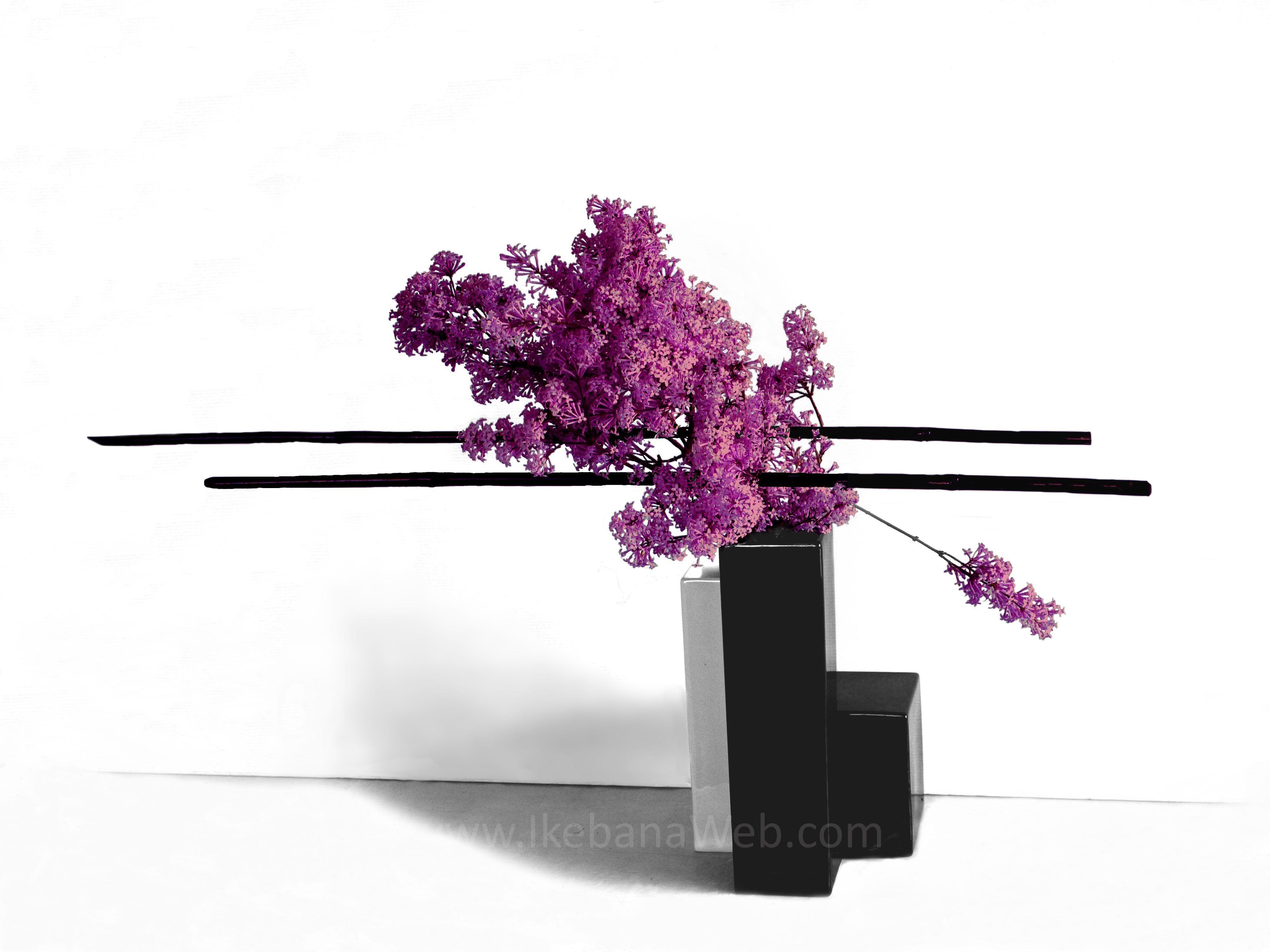 ikebana flower arrangements Sogetsu Mass, Color, Line - 3 main elements.  IkebanaWeb.com