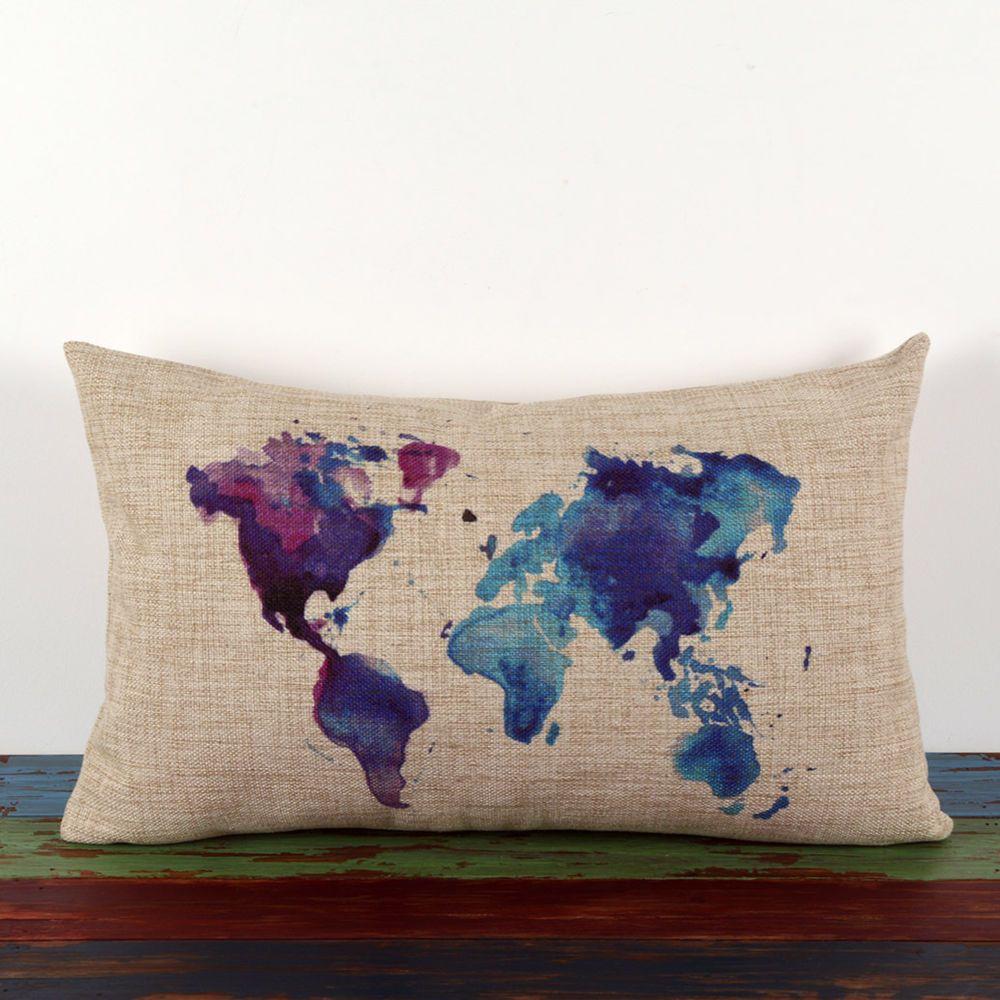 3050cm vintage linen watercolor blue purple world map africa asia 3050cm vintage linen watercolor blue purple world map africa asia cushion cover in home gumiabroncs Image collections