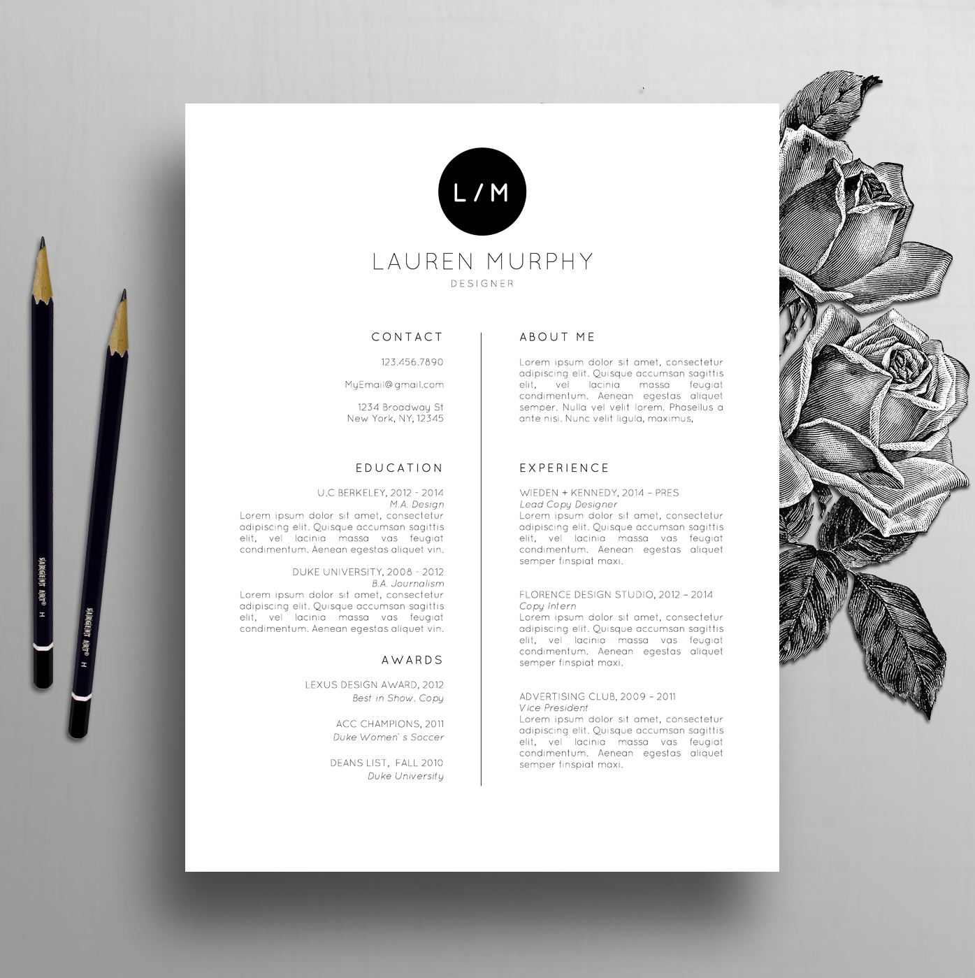 Creative Resume Template + CV Template, Cover Letter, References ...