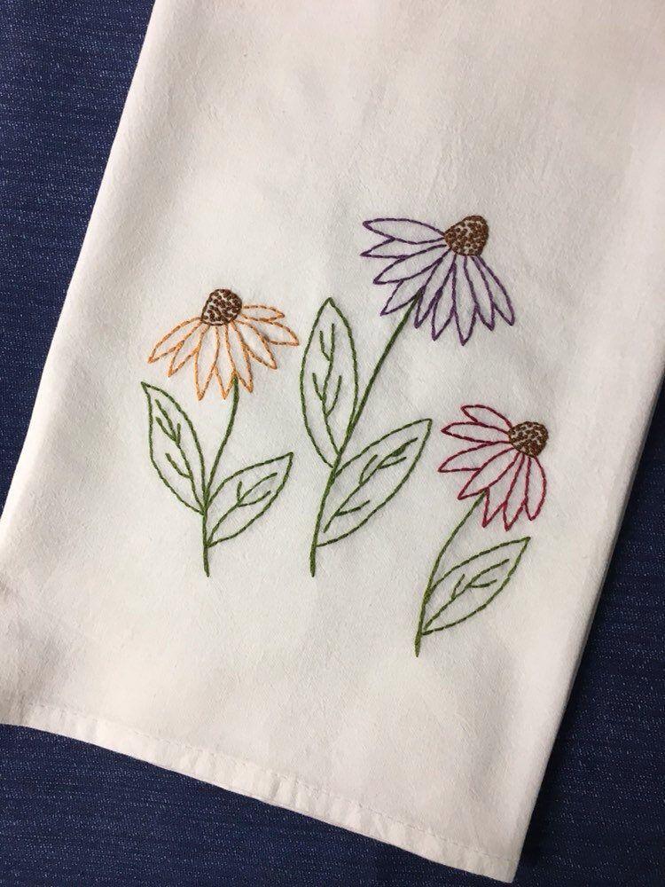 Coneflower Tea Towel Farmhouse flour sack towel Hand embroidered tea towel Summer Wildflower kitchen dish towel #dishtowels
