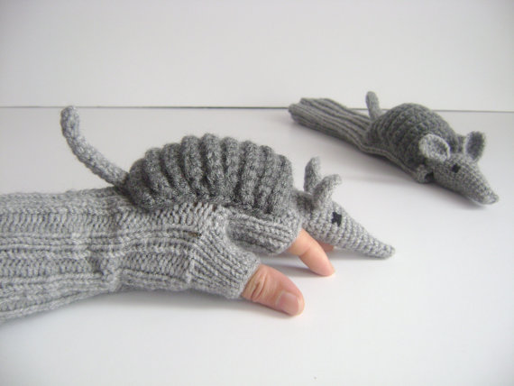Photo of Gray Armadillo winter glove, knit wool glove, crochet animal costume, extra long arm warmer, touch screen glove, unique Christmas gifts
