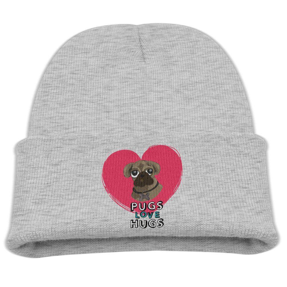 Pugs Love Hugs Unisex Kids Warm Winter Hat Knit Beanie Skull Cap ... 43b381d93ff