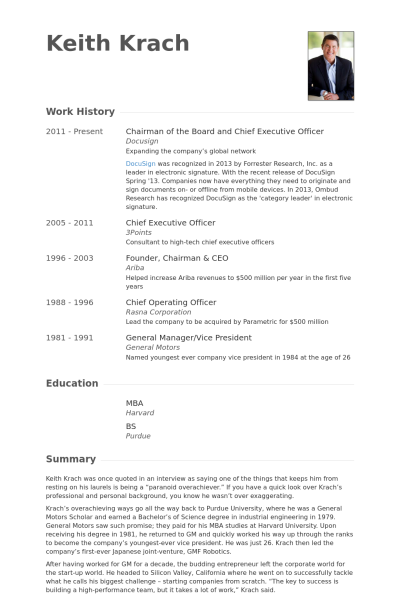 chairman of the board and chief executive officer resume