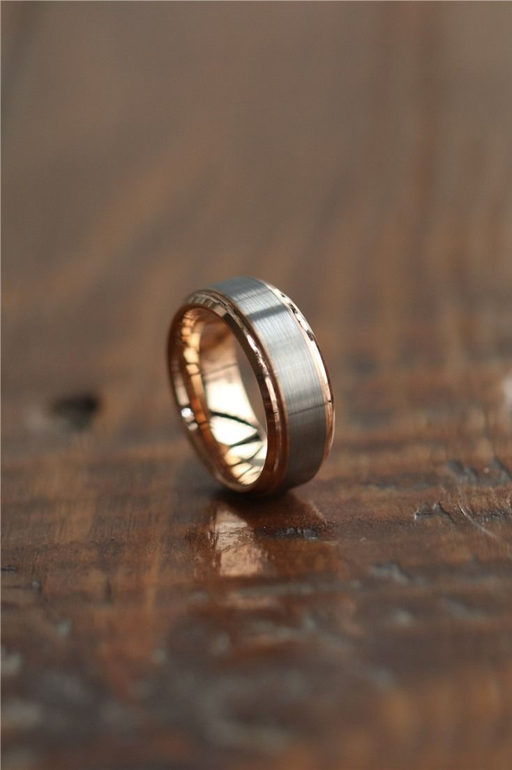 Womens Mens Tungsten Wedding Bands Rose Gold And Silver Brushed With Stepped Edge Tungsten Wedding Bands Mens Wedding Bands Tungsten Rose Gold Engagement Ring