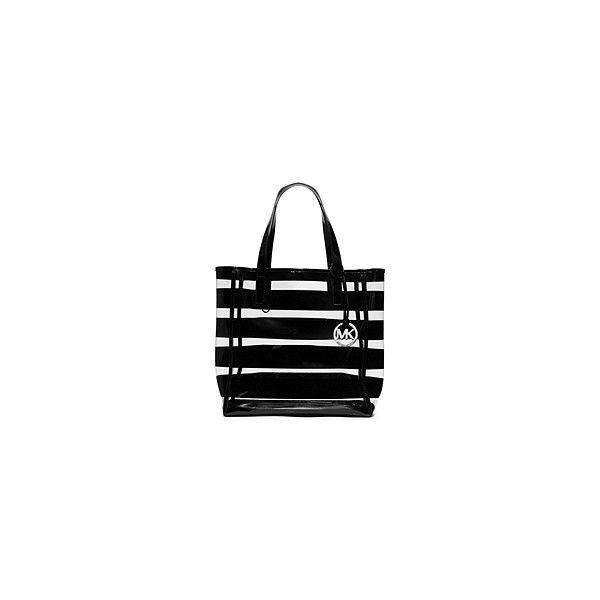 beba0bc5d271 Michael Kors Eliza Medium Striped Plastic Tote Handbag ( 128) ❤ liked on  Polyvore featuring