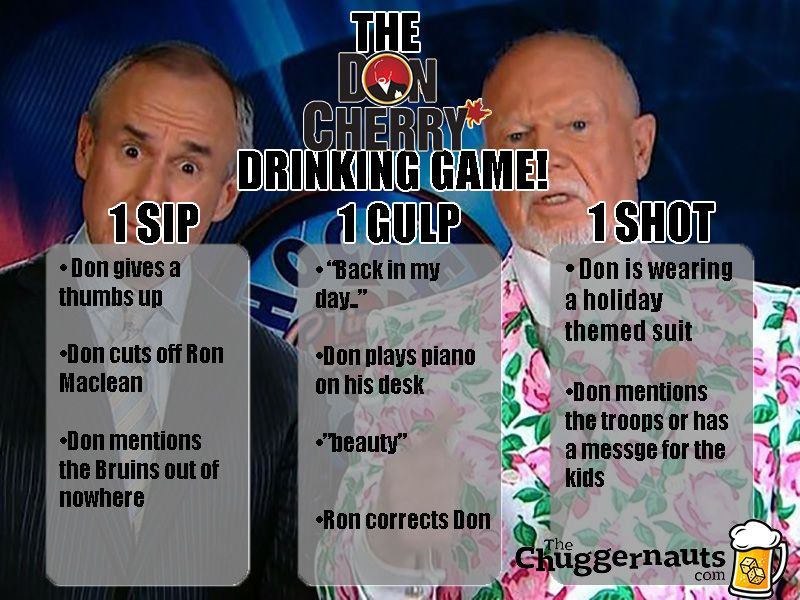 Don Cherry Drinking Game In 2020 Don Cherry Drinking Games Fun Drinking Games