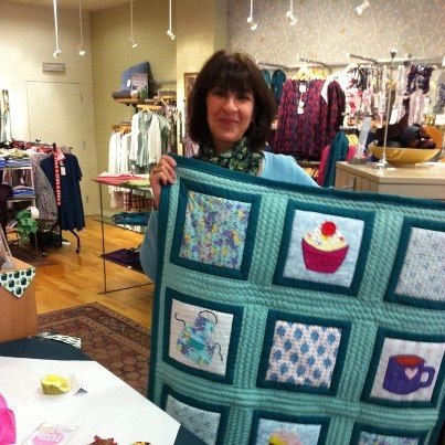 First prize - this beautiful quilt made by the stores assistant manager supporting McMillans Worlds Biggest Coffee Morning,