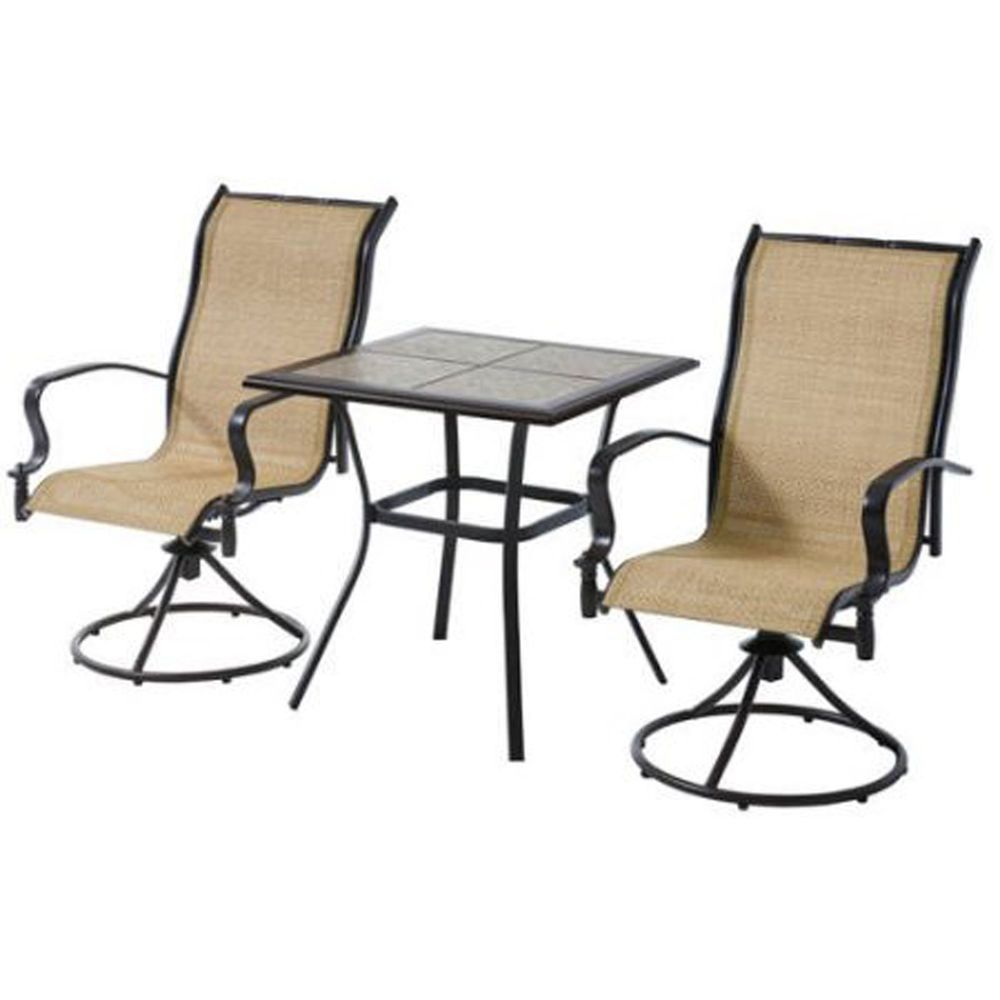 3 Piece Bistro Set Patio Furniture Swivel Chairs Table Garden Deck