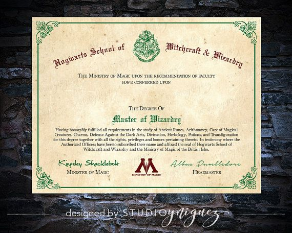 Celebrate your hogwarts students graduation with this blank printable master of wizardry diploma for Hogwarts diploma