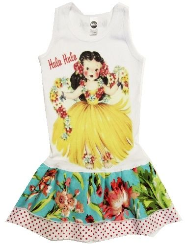 Image of Hula Girl Double Ruffle Dress | Pinwheels and Pearls