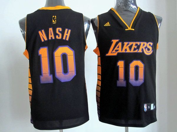 Adidas NBA Los Angeles Lakers 10 Steve Nash Black Color Swingman Jersey 3132c08f1