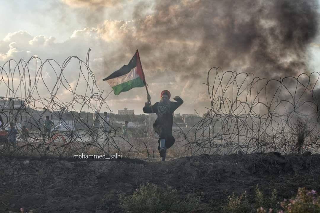 صورة فتاة فلسطينية تتقدم نحو اراضينا المحتلة بعد تقدم عدد من الشبان وقطع السلك الزائل شرق مخيم البريج Art Painting