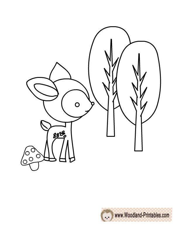 Free Printable Woodland Deer Coloring Page Deer Coloring Pages Animal Coloring Pages Baby Coloring Pages