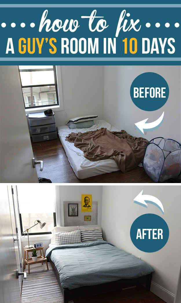 How To Fix A Guy's Room In 10 Days | Guy dorm rooms, Cheap ...