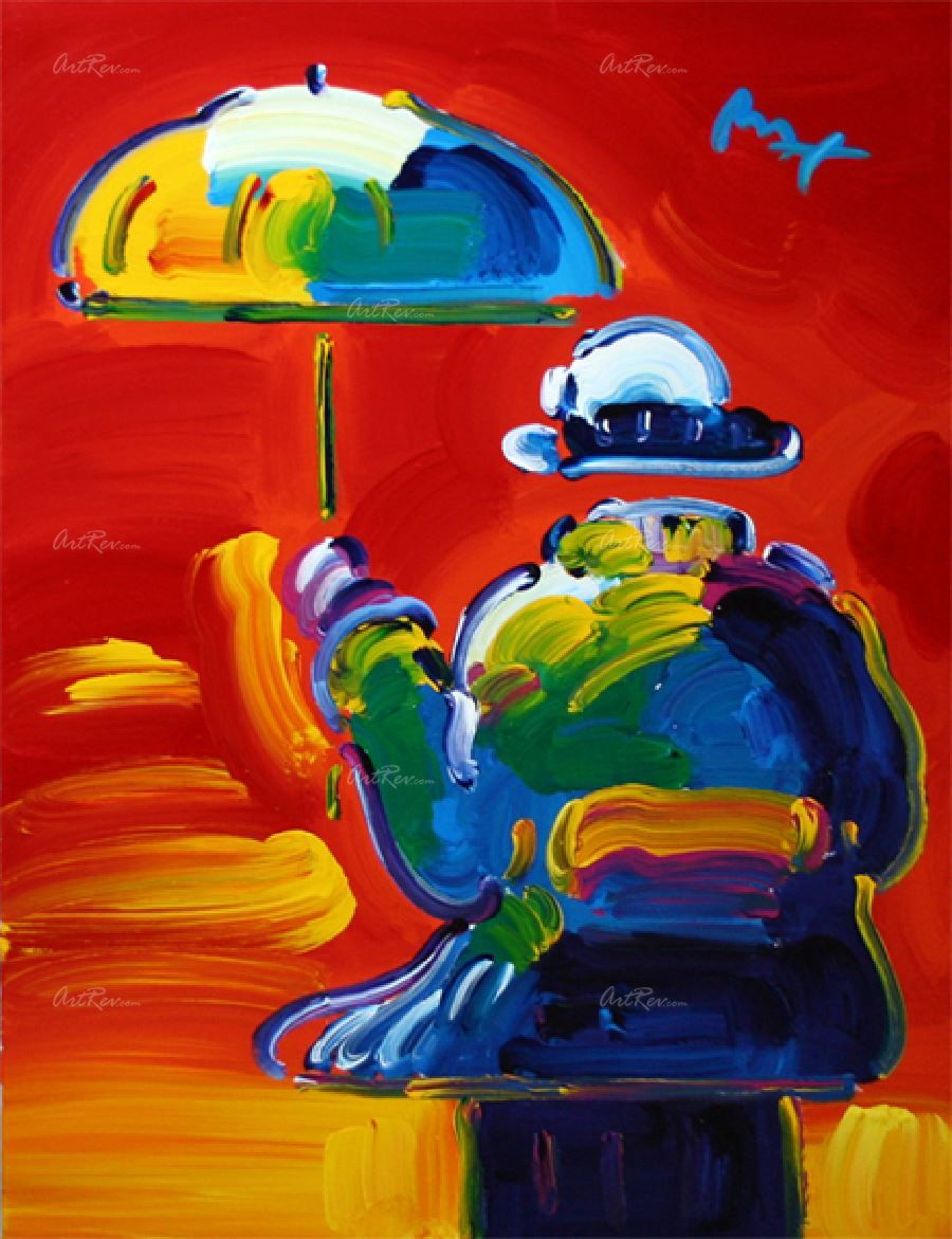 Umbrella Man by Peter Max Original Acrylic on Canvas in