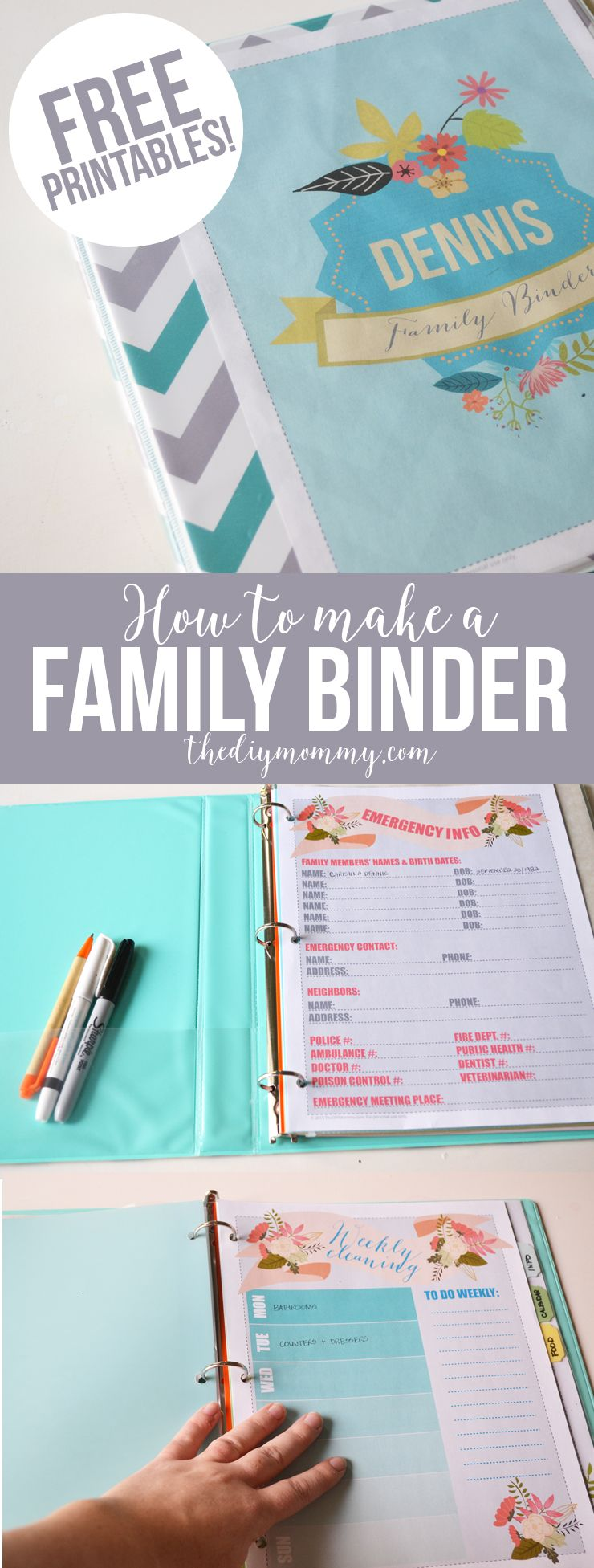 Make a Household Organization Binder (With Free Floral Family Binder ...