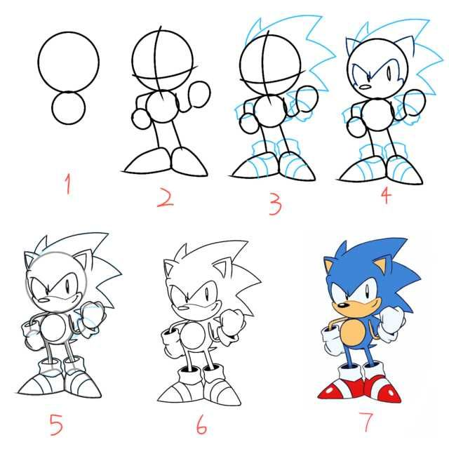 Step By Step Drawing Of Classic Sonic Tyson Hesse Style