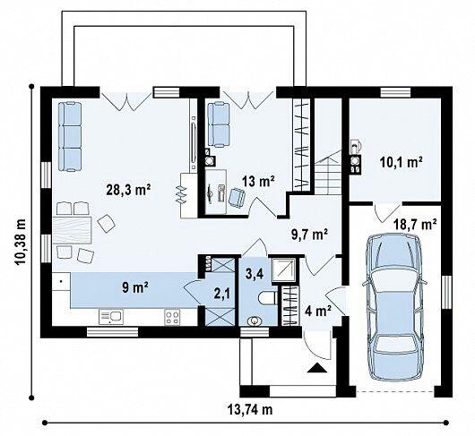 Casa moderna 3 quartos e ngaragem