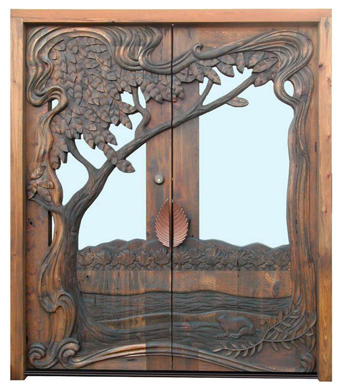 Hand carved art nouveau door 3219hc front door and for Hand carved wood doors