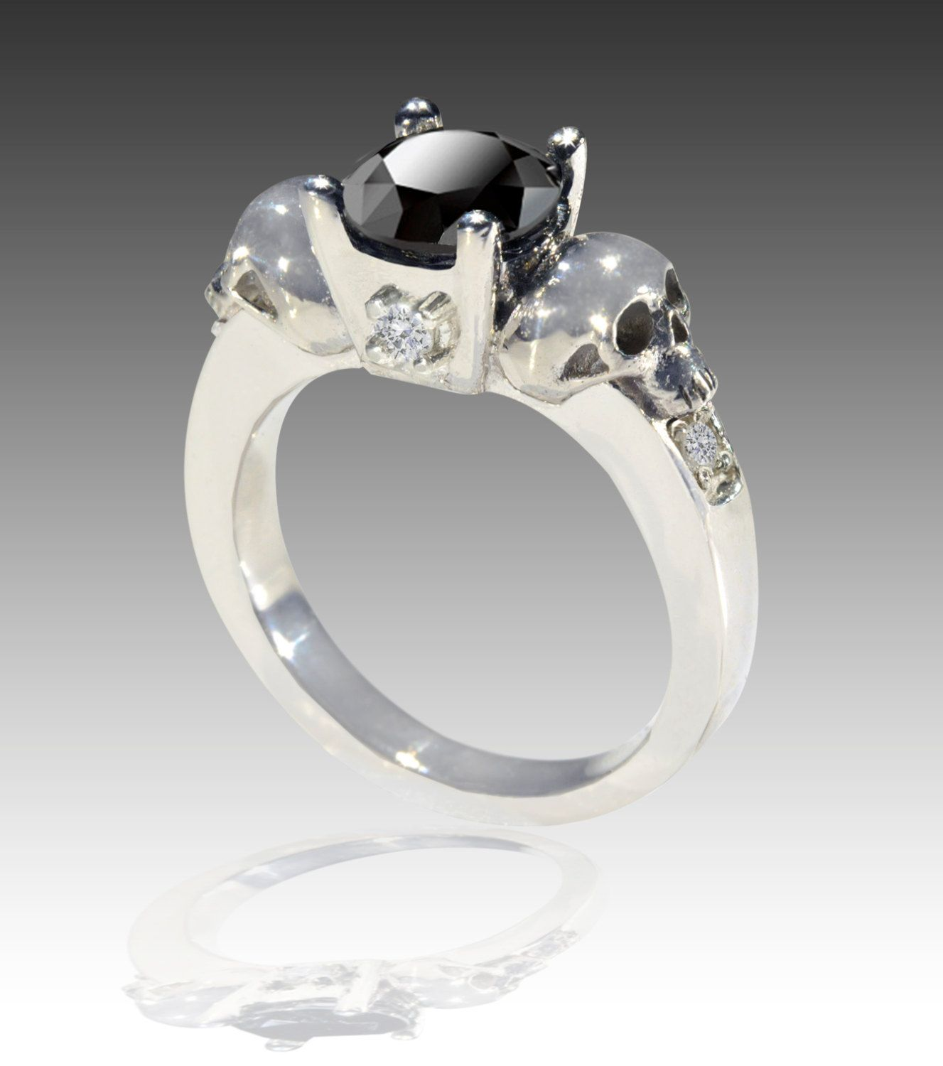 14k white gold black and white diamond skull by johnny10rings