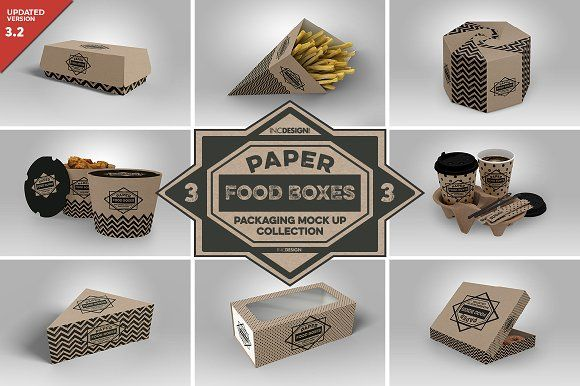 VOL.3 Food Box Packaging MockUps by INCDesign on @creativemarket