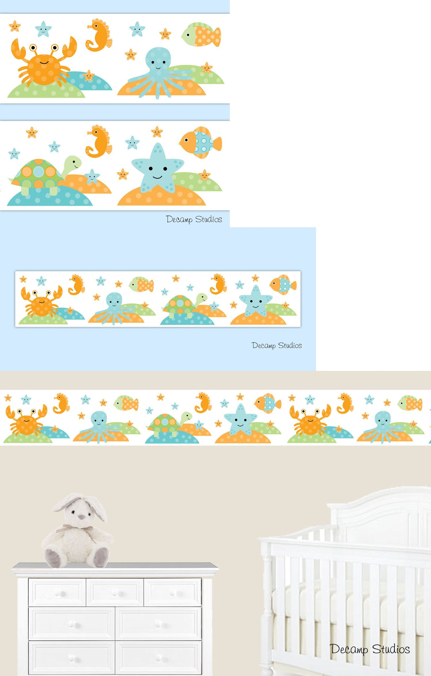 Wallpaper Borders 37636 Sea Life Nursery Decal Baby Border Wall Art Stickers Ocean Animals