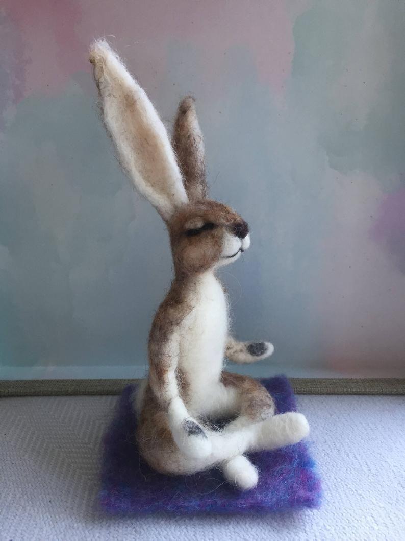 Yoga Hare/Yoga Gift/Needle Felted Hare/Lotus Hare/Yoga gift/Yoga Ornament/Yoga Doll/Felted Yoga Doll/Needle Felted Animal