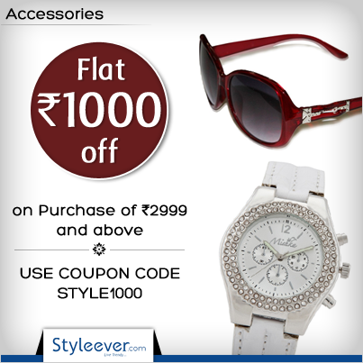 Get the best offers on accessories this Diwali. Avail Flat Rs 1000 off on Purchase of Rs 2999 and above. Use Coupon Code : STYLE1000