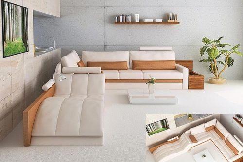 praktisches sofa - in weiß und beige liegen, sitzen, kuscheln - wohnzimmer beige weis grau