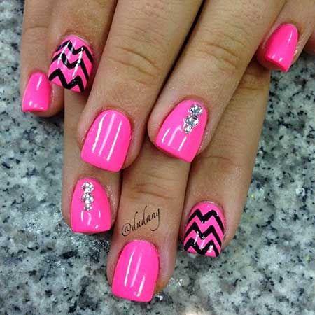 Hot Pink Nail Art Nails Pink Nails Toe Nails
