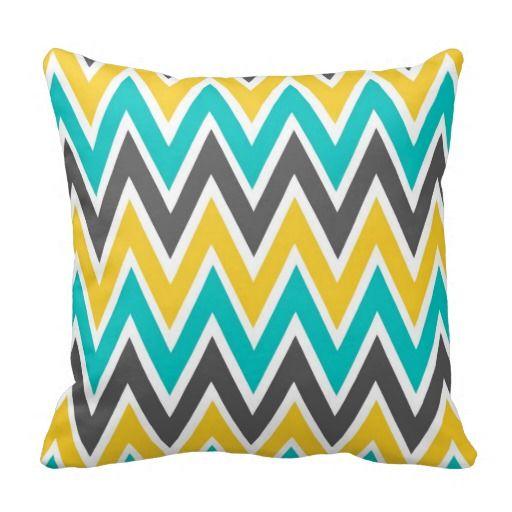 Astonishing Turquoise Gray Yellow Gold Chevron Throw Pillow Zazzle Com Pdpeps Interior Chair Design Pdpepsorg