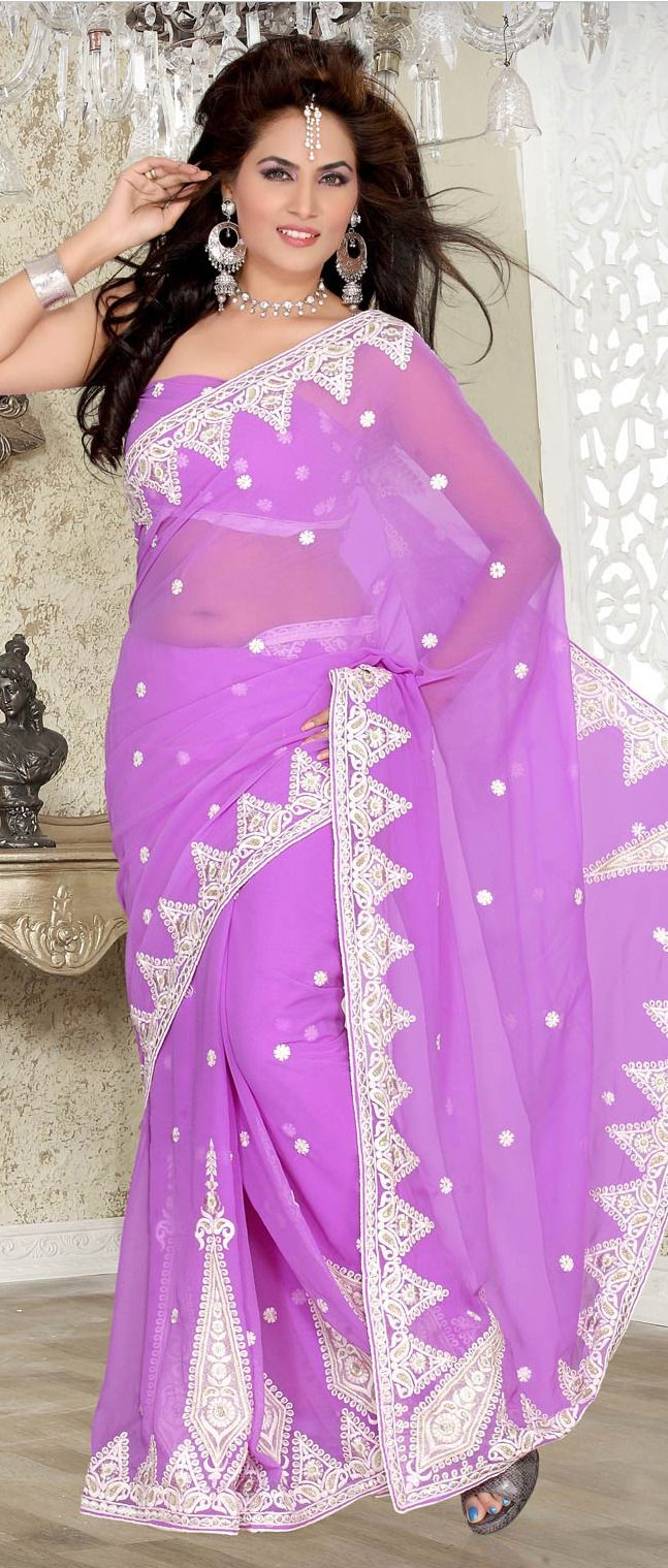Lavender #Faux #Chiffon #Saree with Blouse @ $60.92 | indian beauty ...