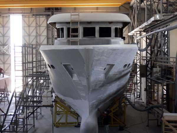 Explorer Yacht Dauntless D73 bow view while under construction.