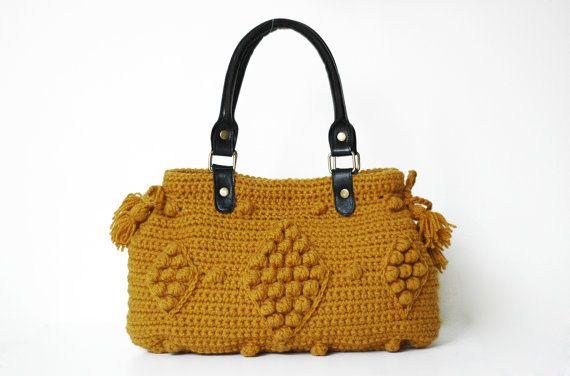 crocheted Handbag Gray Bagmustard handbag  Celebrity by Sudrishta, $130.00