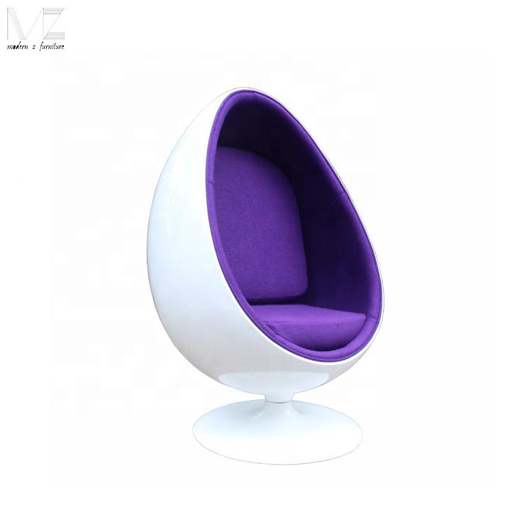 Classical Design Swivel Wool Fabric Oval Shape Egg Ball Pod Lounge