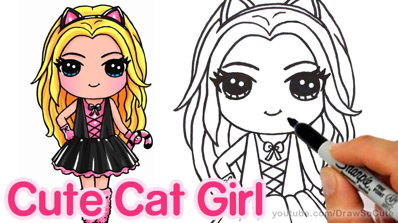 How to draw a cute girl in cat costume step by step
