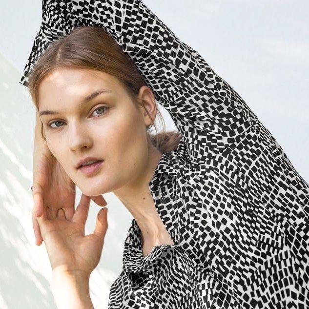 @kirsipyrhonen for Marimekko AW15 - here in our Metropoli silk shirt. // #marimekko #aw15 //