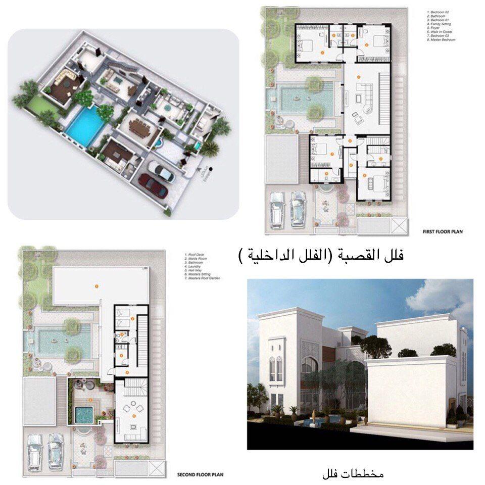 تصاميم معمارية مخطط فيلا القصبة Architectural House Plans House Plans Big Houses