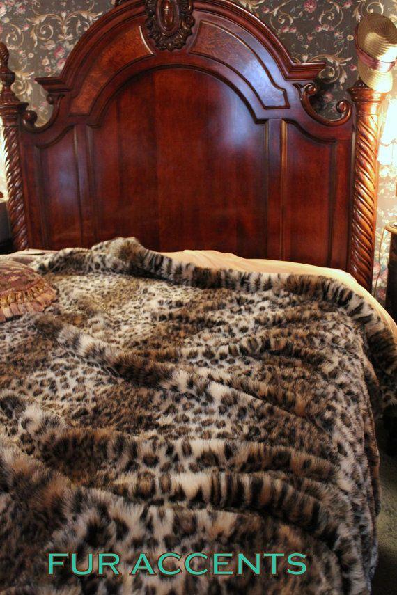 Plush Leopard Bedspread Comforter Throw Blanket Faux Fur