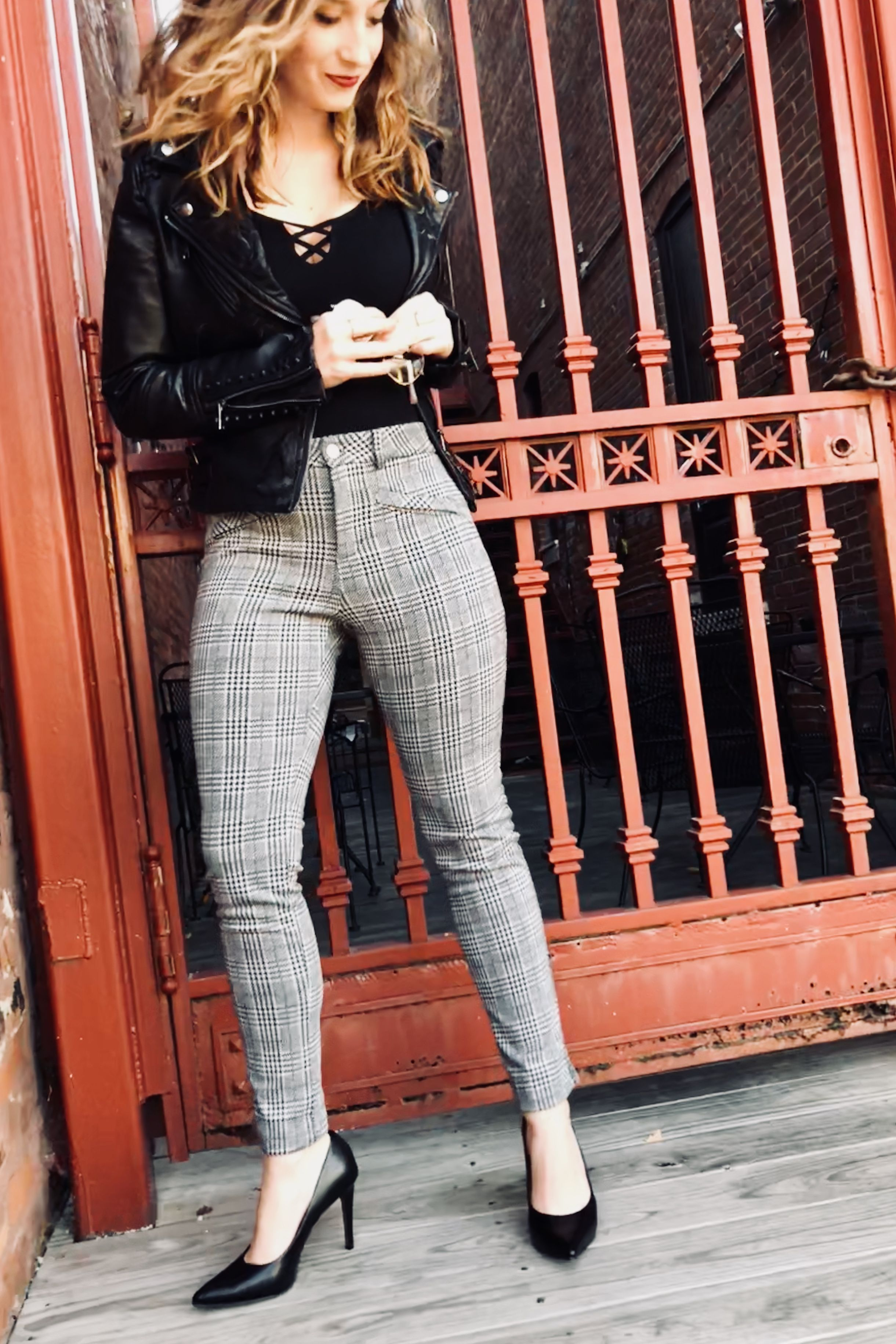 165424a78d0d SHOP denimandstreet.com Black and white plaid pants $48 Plaid pants outfit  / checkered pants outfit / black and white outfit #streetstyle