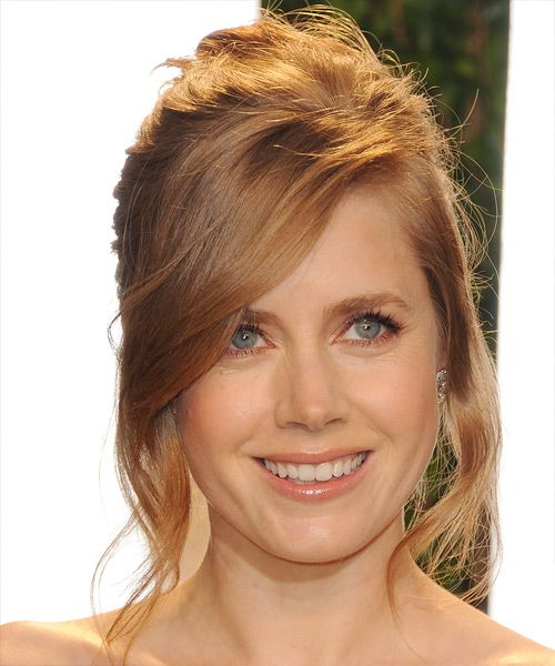 Amy Adams Long Straight Ginger Red Updo With Side Swept Bangs