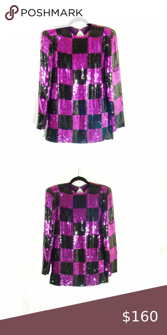 Color Block Sequin Top