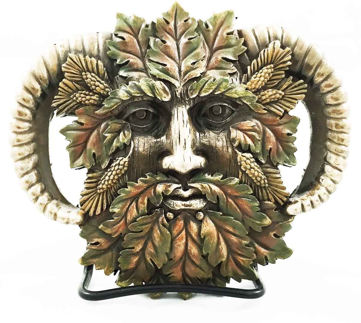 Fall autumn leaves horned god greenman pan wall decor plaque