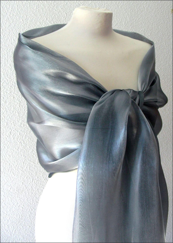 42b18dbd082 Etole- écharpe-foulard - Organza Gris  Argent - Cérémonie
