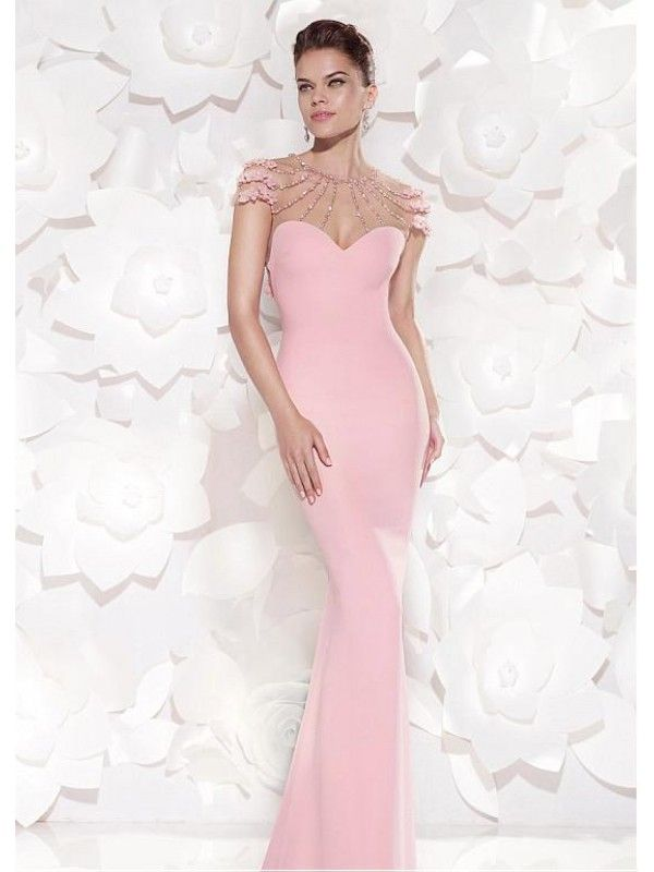 Alluring Satin & Tulle Jewel Neckline Sheath Prom Dresses Nz/Ball ...